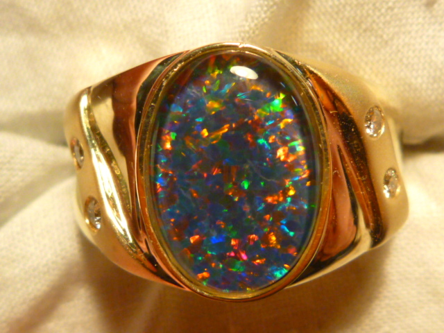 Mens Opal Ring 14ct Yellow Gold Natural Opal Triplet Diamond 14
