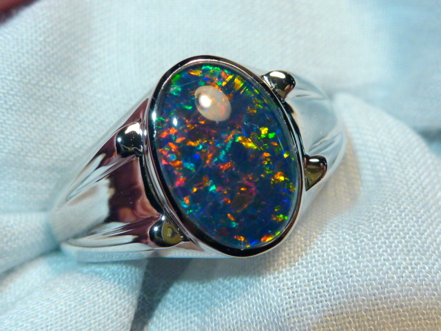 Mens Opal Ring Sterling Silver Natural Opal Triplet 13x9mm Oval