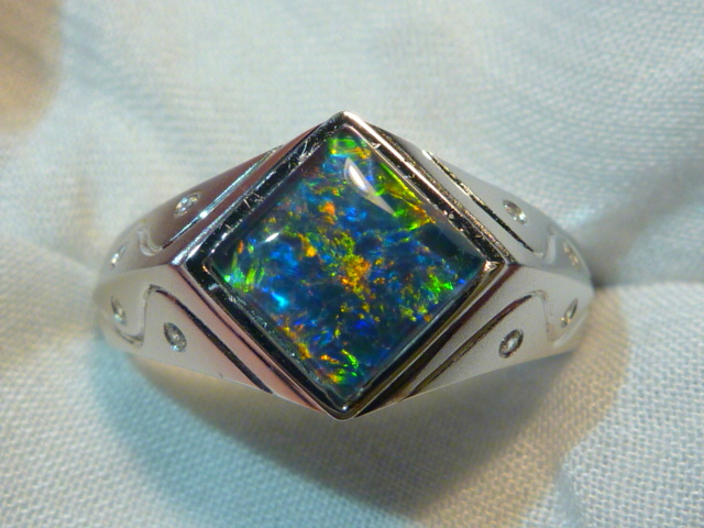 Mens Opal Ring Sterling Silver Natural Opal Triplet 8mm Square