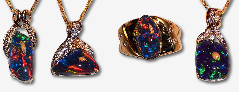 Custom made opal jewellery