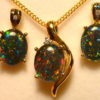 Natural Opal Pendant & Earring Matching Set, Sterling Silver #070645.